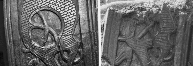 Fig. 22: De to bildene gjengir samme område av forstevnen. Det til høyre er tatt under utgravningen (foto: Kulturhistorisk Museum). Det andre på Vikingskipshuset (foto: Thomas Finderup). Legg merke til forskjellene i treskjærerarbeidet.