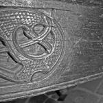 Fig. 25: Nederste del av akterstevnen på styrbord side. Her sees en tydelig merking, kanskje utført med passer. (Foto: Thomas Finderup)