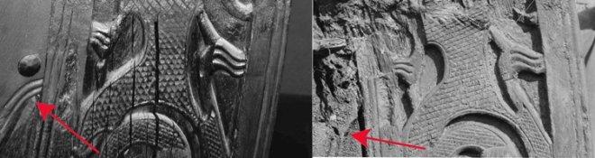 Fig. 29: To bilder av samme område på forstevnen. Bildet til venstre er tatt i Vikingskipshuset (foto: Thomas Finderup) og bildet til høyre under utgravningen i 1904 (foto: Kulturhistorisk Museum). De røde pilene markerer hvor den lille fine detaljen på plankens underkant forsvant under gjenoppbyggingen.