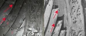 Fig. 32: To bilder av samme område på akterstevnen. Det ene er fra 1904 (foto: Kulturhistorisk Museum) og det andre (foto: Thomas Finderup) viser skipet som det ser ut i dag på Vikingskipshuset. De røde pilene markerer hvor man skiftet ut rombeformete skiver med firkantede.